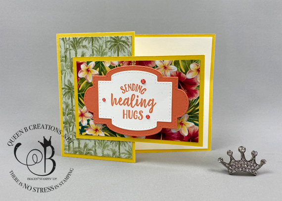 Stampin' Up! So Sentimental Tropical Oasis fun fold handmade card by Lisa Ann Bernard of Queen B Creations