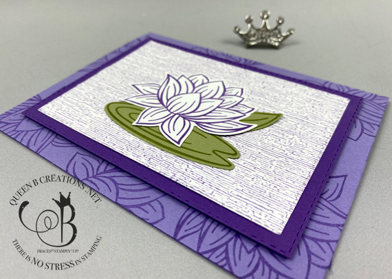 Stampin' Up! Subtle Embossing Lovely Lily Pad card saleabration 2020 by Lisa Ann Bernard of Queen B Creations
