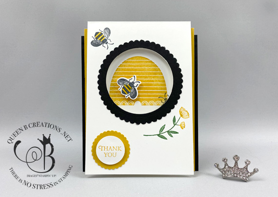 Stampin' Up! Honey Bee Thank You Peek-a-boo technique card with video by Lisa Ann Bernard of Queen B Creations