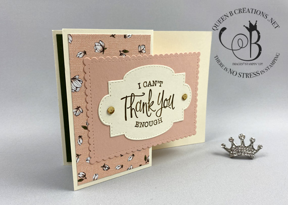 Stampin' Up! So Sentimental fun fold thank you card by Lisa Ann Bernard of Queen B Creations