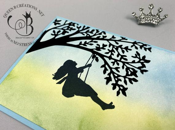 Stampin' Up! Sweet Silhouette Scenes handmade ink blending card made by Lisa Ann Bernard of Queen B Creations