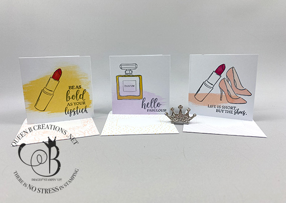 Stampin' Up! Dressed to Impress 3x3 cards and envelopes by Lisa Ann Bernard of Queen B Creations