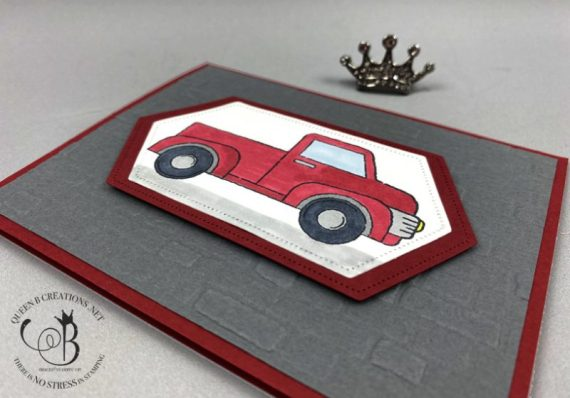 Stampin' Up! Ride With Me red truck birthday greeting card by Lisa Ann Bernard of Queen B Creations