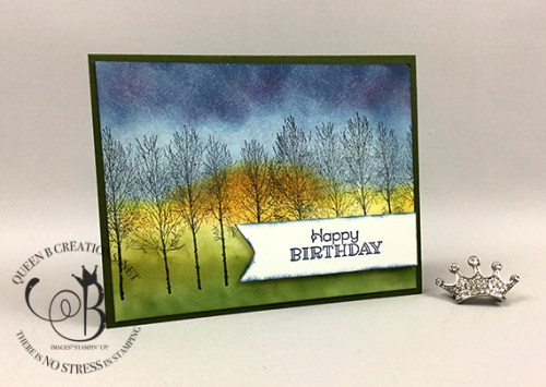 Stampin' Up! Winter Woods ink blending technique by Lisa Ann Bernard of Queen B Creations
