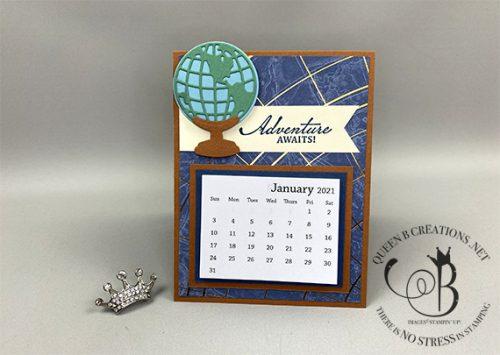 Stampin' Up! Beautiful World of Good masculine desk calendar by Lisa Ann Bernard of Queen B Creations