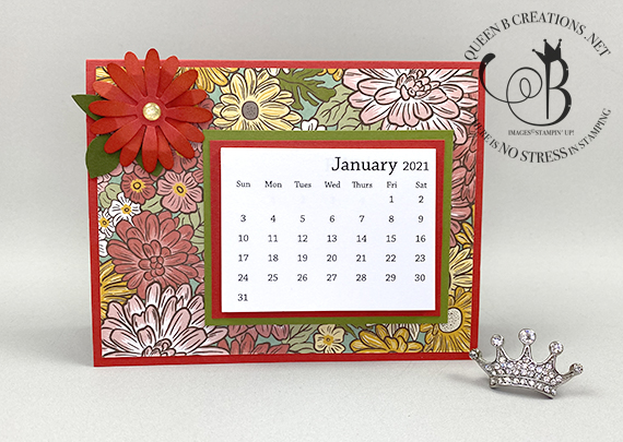 Stampin' Up! Ornate Garden DSP with punched daisy mini desk calendar by Lisa Ann Bernard of Queen B Creations