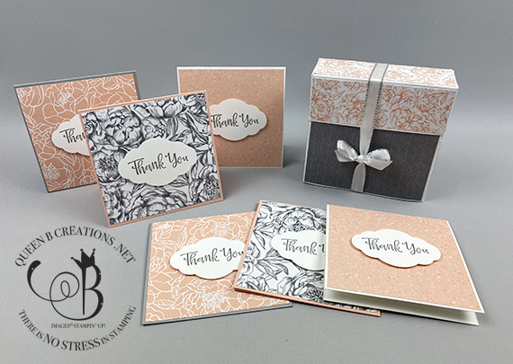 Stampin' Up! Peaceful Moments Thank You Peony Garden DSP small notecards in a gift box by Lisa Ann Bernard of Queen B Creations
