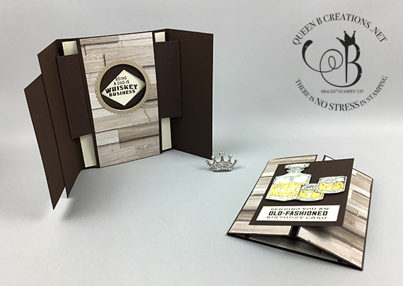 Stampin' Up! Whiskey Business peek-a-boo shuter masculine card made by Lisa Ann Bernard of Queen B Creations