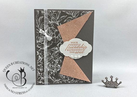 Stampin' Up! Peony Garden Drapery Pull Back handmade card by Lisa Ann Bernard of Queen B Creations