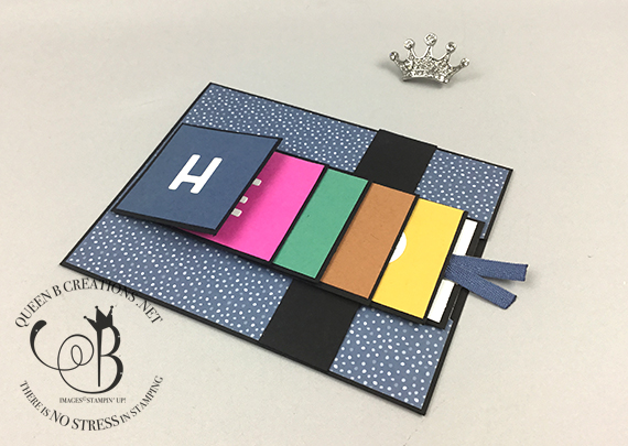 Stampin' Up! Playful Alphabet / Press On waterfall card by Lisa Ann Bernard of Queen B Creations
