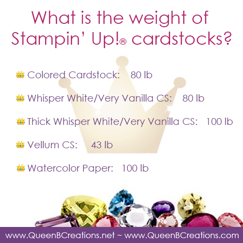 weight of Stampin' Up! cardstocks provided by Lisa Ann Bernard of Queen B Creations