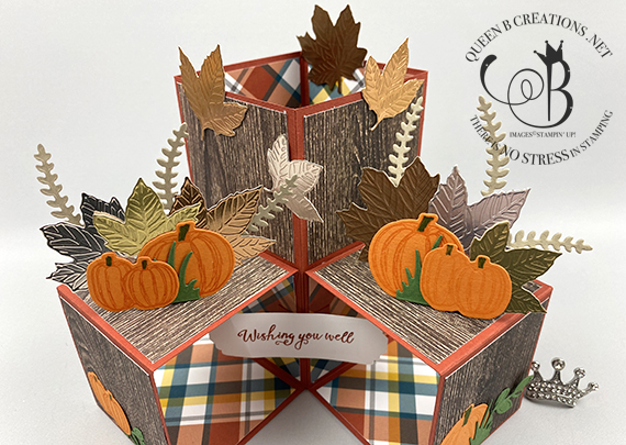 Stampin' Up! Gather Together Triple Pop Up Card Tutorial with Video by Lisa Ann Bernard of Queen B Creations