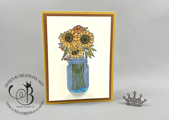 Stampin' Up! Jar of Flowers mason jar shaker dome card by Lisa Ann Bernard of Queen B Creations