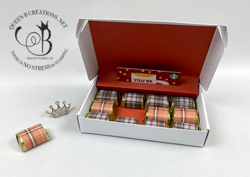 Stampin' Up! Plaid Tidings Thanksgiving Pilgram Candy Bar Wrappers and Mini Paper Pumpkin box gift card holder by Lisa Ann Bernard of Queen B Creations