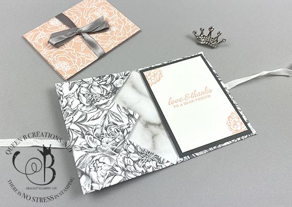 Stampin' Up! Peony Garden DSP Gift Card Holder by Lisa Ann Bernard of Queen B Creations