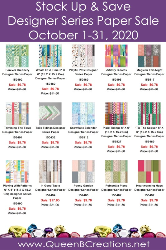 October 2020 Stock Up & Save Designer Series Paper Sale - Shop with Lisa Ann Bernard at Queen B Creations