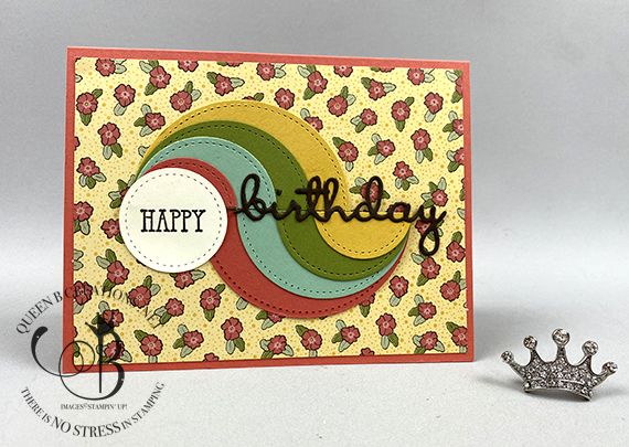 Stampin' Up! Ornate Garden DSP circle birthday swirl birthday card by Lisa Ann Bernard of Queen B Creations
