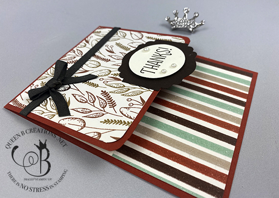 Stampin' Up! Gilded Autumn DSP top flap card by Lisa Ann Bernard of Queen B Creations