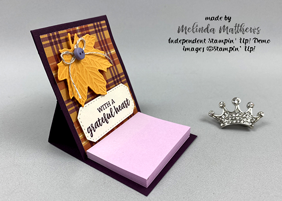 Stampin' Up! Perfectly Plaid fall mini post it note holder by Melinda Matthews for Queen B Creations