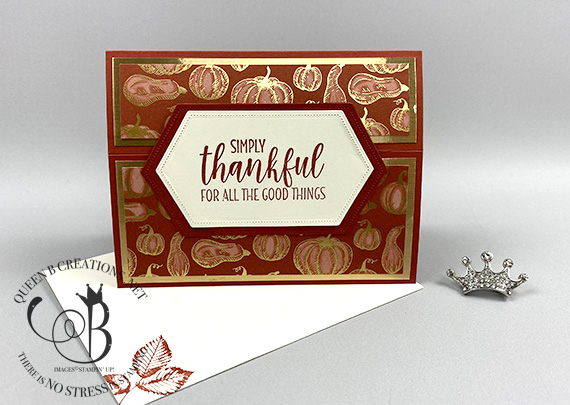 Stampin' Up! Gilded Autumn landscape easel card by Lisa Ann Bernard of Queen B Creations