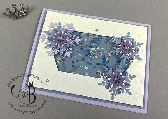 Stampin' Up! Snowflake Wishes shaker card by Lisa Ann Bernard of Queen B Creations