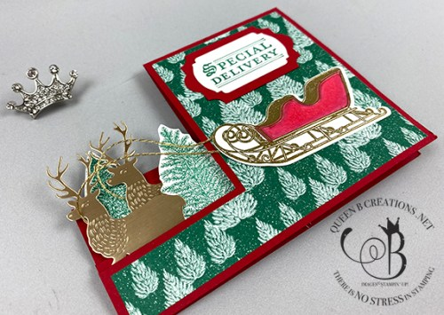 Stampin' Up! Wishes & Wonder Step Card Christmas card by Lisa Ann Bernard of Queen B Creations