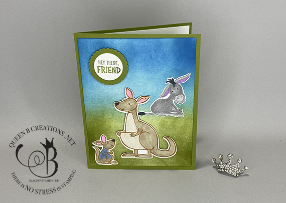 Stampin' Up! Darling Donkeys with Kangaroo and Company Eyeore Card by Lisa Ann Bernard of Queen B Creations