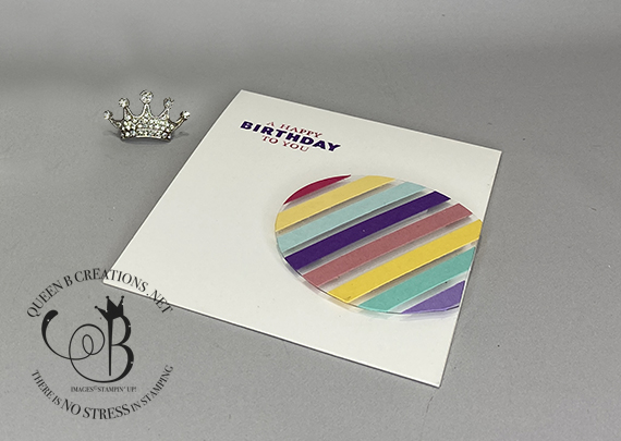 Stampin' Up! Floating Circle Scrap Strips handmade birthday card by Lisa Ann Bernard of Queen B Creations