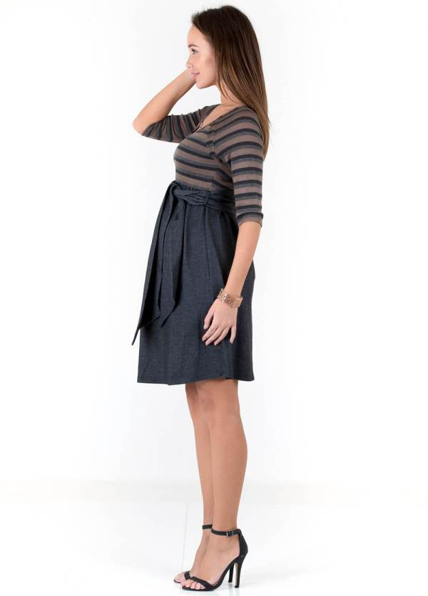 Striped Scoop Front Tie Maternity Dress Maternal America