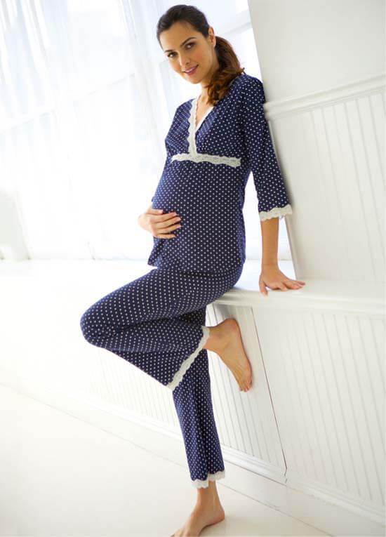 Dottie Navy Polkadot Maternity Nursing Pyjama Set by
