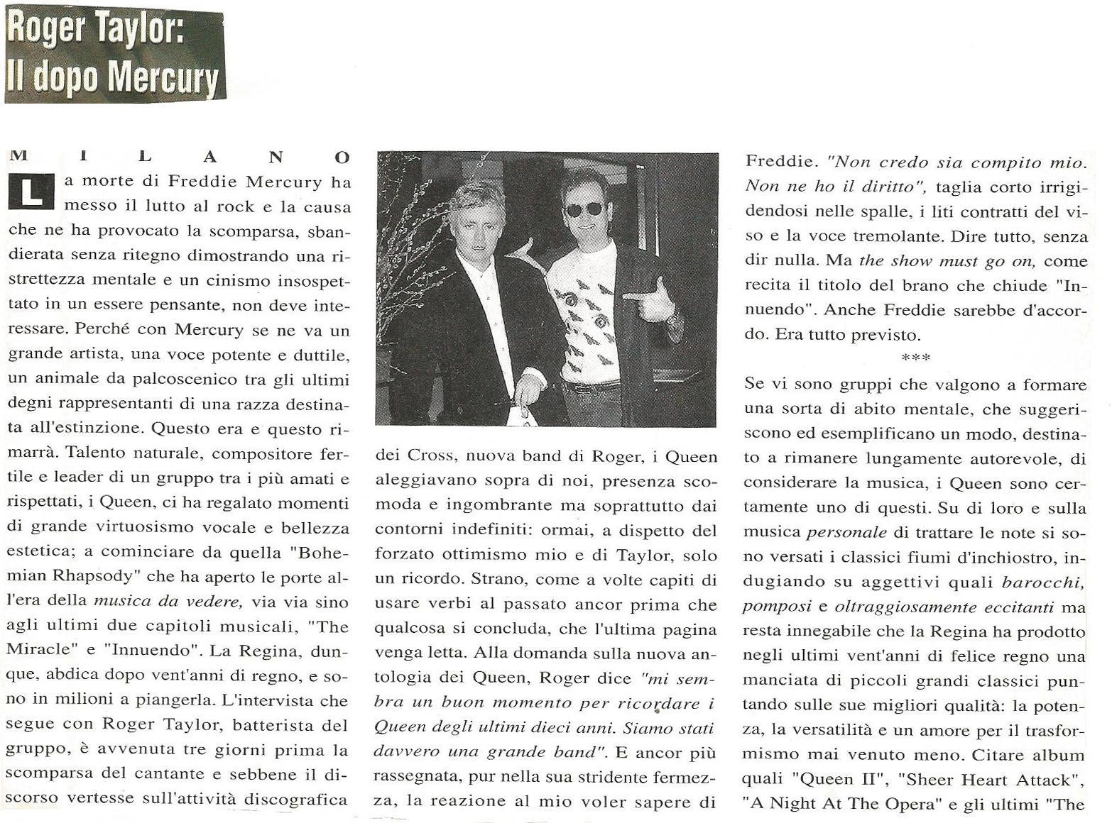 Rumore Novembre Intervista A Roger Taylor Tre