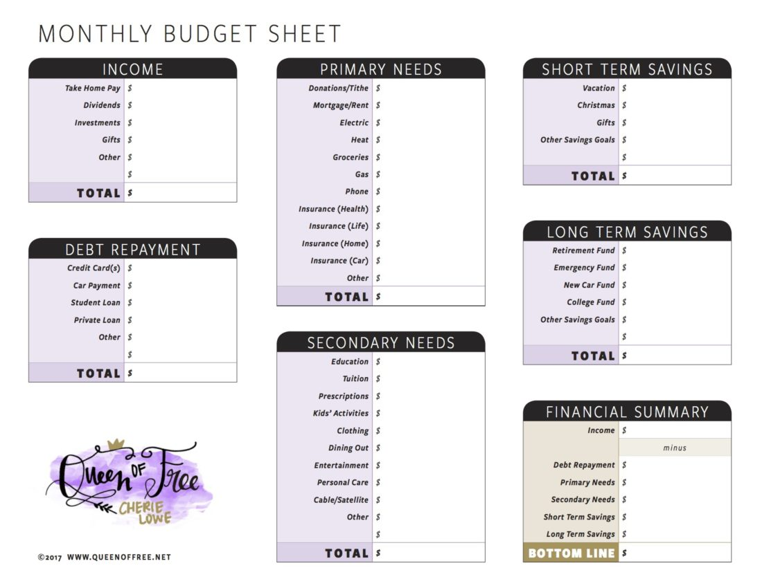 All New Free Printable Budget Forms You Can Edit
