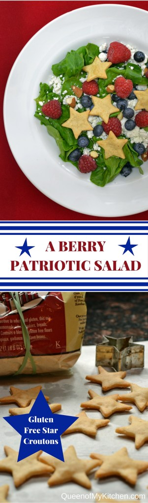 A Berry Patriotic Salad with Gluten-Free Start Croutons is a festive salad for any patriotic holiday - Memorial Day, July 4th, Labor Day, or Patriots Day. Nutritious whole foods color this salad red, white, and blue. | QueenofMyKitchen.com