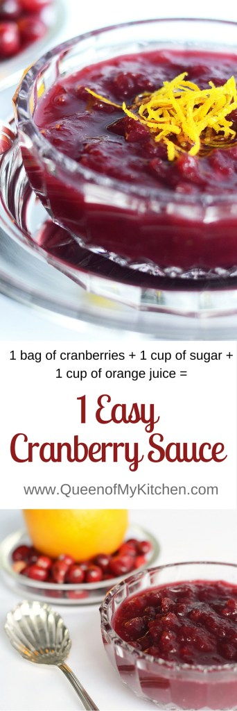 1 Easy Cranberry Sauce is the easiest ever homemade cranberry sauce. Just 3 ingredients, 1 measurement, and 0 cleanup. The perfect complement to your Thanksgiving Turkey. | QueenofMyKitchen.com #Thanksgiving