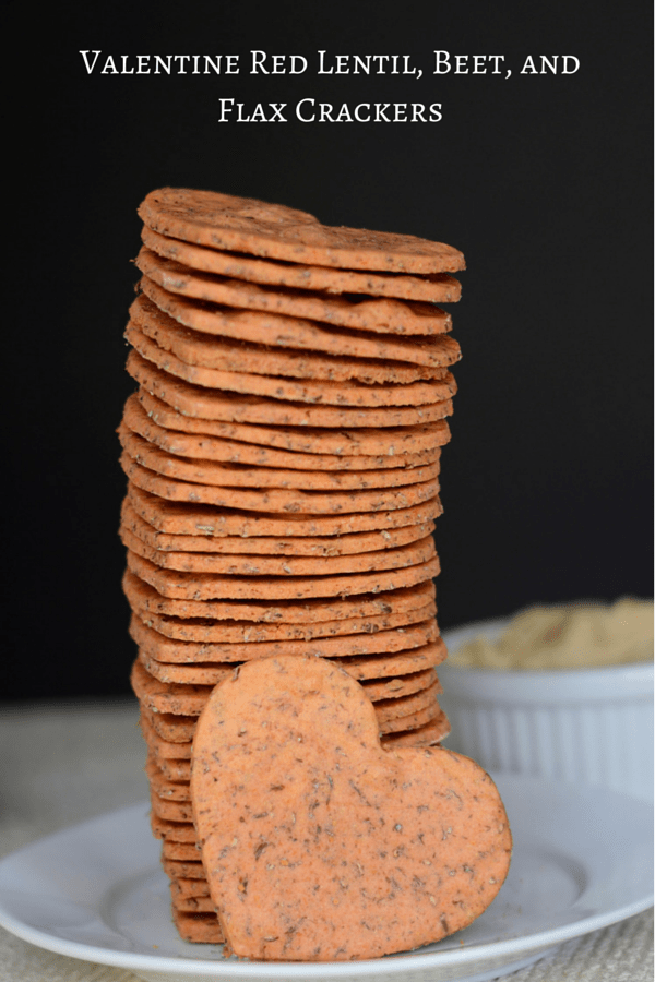 Valentine Red Lentil, Beet, and Flax Crackers - healthy, gluten free crackers made with red lentil flour, beets, coconut oil and ground flaxseed. | QueenofMyKitchen.com