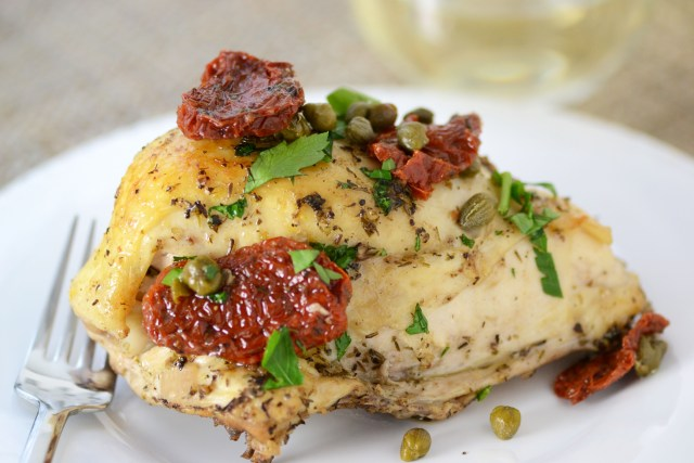 Roasted Chicken Breasts in Date Sauce with Sun-Dried Tomatoes and Capers. Tastes like a dish from a French bistro. | QueenofMyKitchen.com