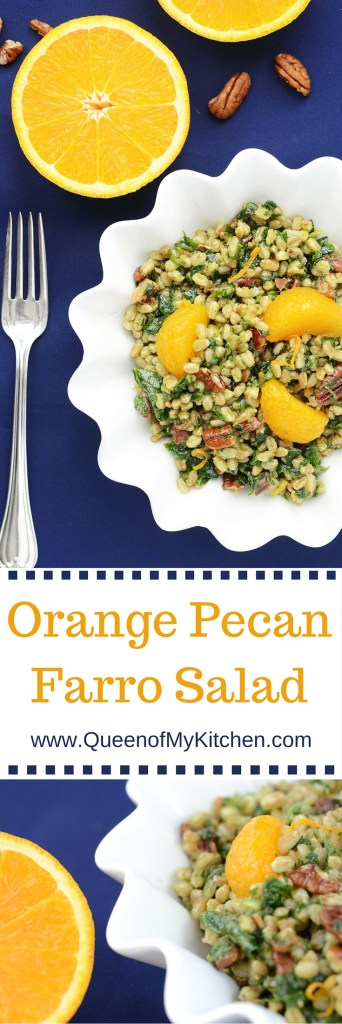 Orange Pecan Farro Salad - A delicious salad that highlights the super grain farro. Farro is higher in protein and fiber than most other whole grains.| QueenofMyKitchen.com