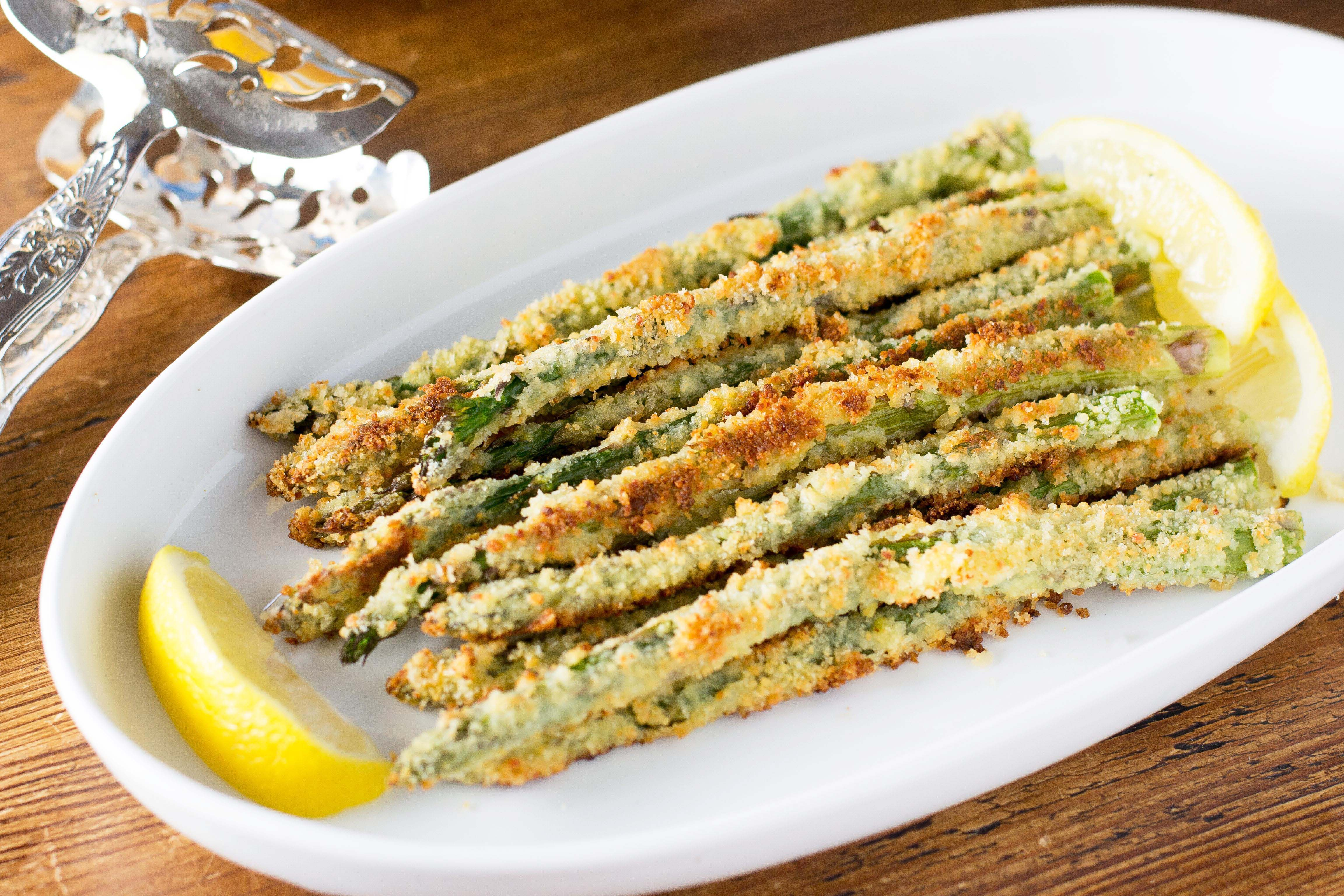 Panko Parmesan Crusted Asparagus - Asparagus is encased in a crispy ...