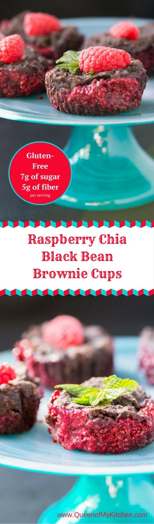 Raspberry Chia Black Bean Brownie Cups - Raspberry chia jam nestled inside a dark chocolate, fudge-like brownie. Gluten-free, low in sugar, high in fiber. | QueenofMyKitchen.com