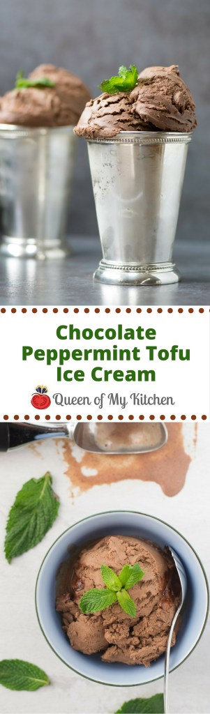 Chocolate Peppermint Tofu Ice Cream is vegan ice cream that tastes like a frozen thin mint cookie. It's made with tofu and almond milk and contains no dairy! | QueenofMyKitchen.com