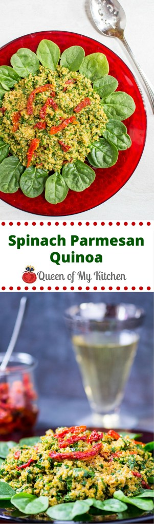 "Spinach Parmesan Quinoa is a delicious gluten-free side dish that requires only 5 ingredients, takes just minutes to prepare, and checks the box for both ""starch"" and ""vegetable"". 