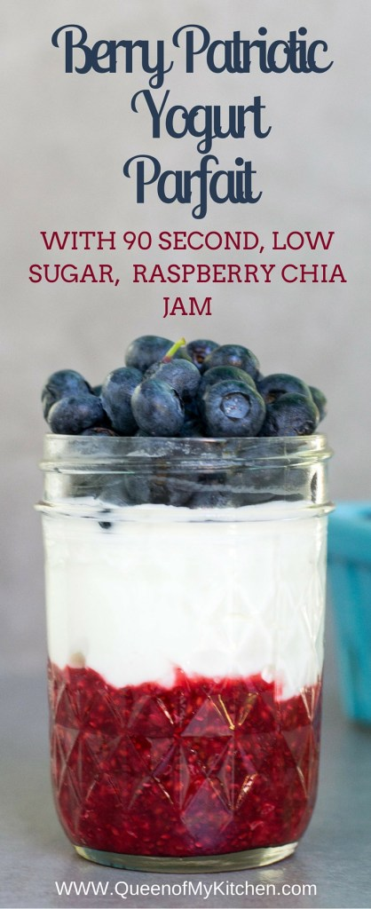 Berry Patriotic Yogurt Parfait with a recipe for 90 second Raspberry Chia Jam. Less than half the sugar of traditional fruit-on-the-bottom yogurt. Tastes like a treat instead of a healthy breakfast. Perfect for any patriotic holiday! | QueenofMyKitchen.com