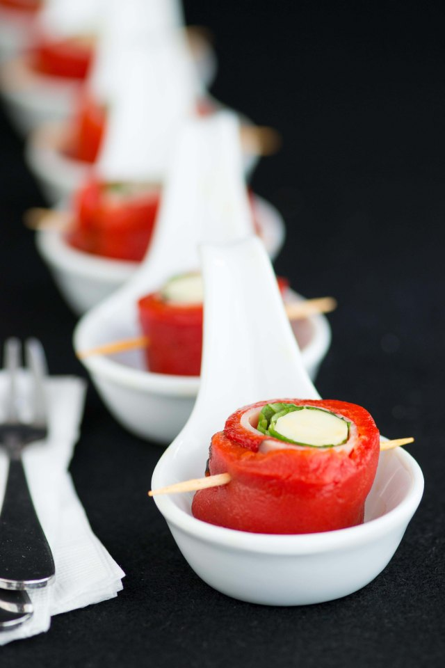Roasted Red Pepper Involtini – a no cook appetizer that's delicious, easy, elegant, colorful, gluten-free, and low in calories. Great on antipasto platters.   QueenofMyKitchen.com