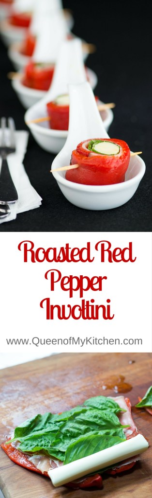 Roasted Red Pepper Involtini – a no cook appetizer that's delicious, easy, elegant, colorful, gluten-free, and low in calories. Great on antipasto platters. | QueenofMyKitchen.com