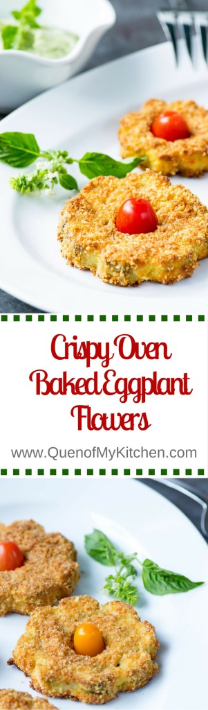 Crispy Oven Baked Eggplant Flowers are golden brown and deliciously crispy on the outside, yet tender on the inside. Fun, festive, and full of parmesan flavor! This recipe can be adapted to make easy, healthy, eggplant parmesan too - with no messy stove-top frying! Just add sauce and cheese. A great vegetarian dinner. | Recipe Redux | QueenofMyKitchen.com