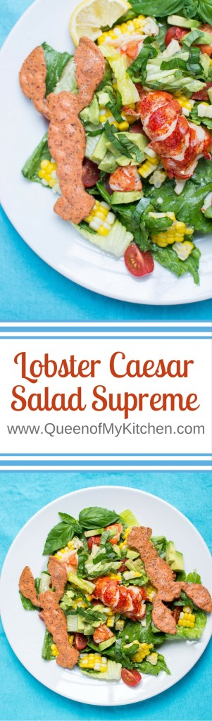 Lobster Caesar Salad Supreme - An inventive take on Caesar salad that showcases sweet, succulent, Maine lobster and substitutes gluten-free, red lentil crackers for croutons. | Recipe ReDux | QueenofMyKitchen.com