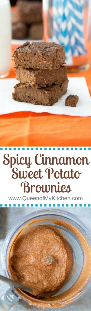 Spicy Cinnamon Sweet Potato Brownies - Twice as much protein, 1/3 less sugar, and four times as much fiber as a regular brownie! A fantastic, healthy dessert! | QueenofMyKitchen.com