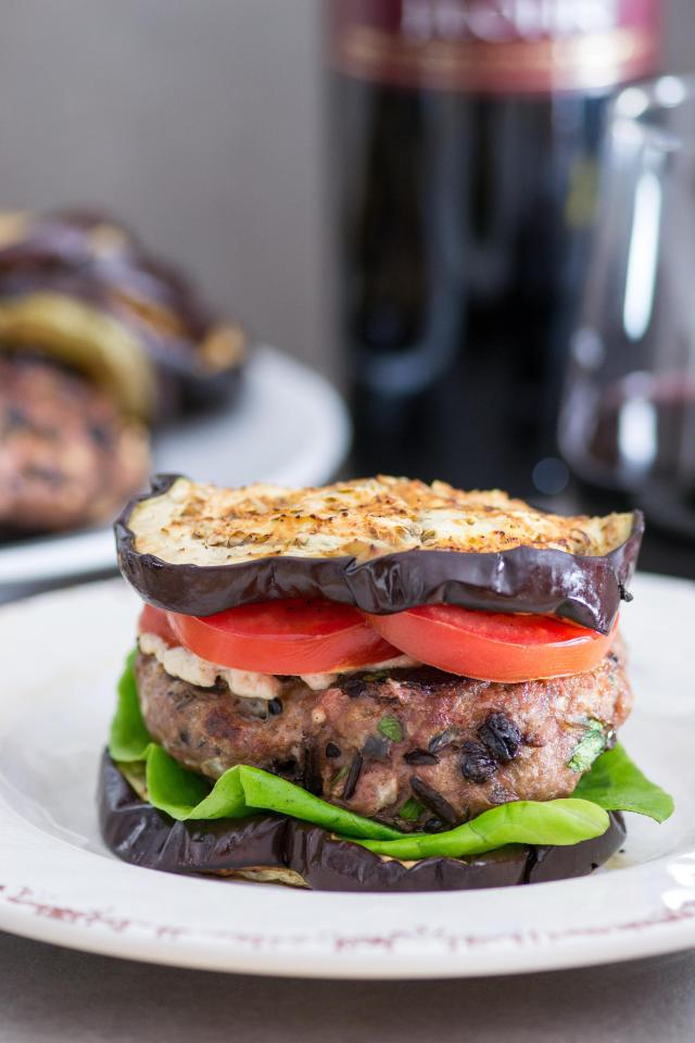 Eggplant Lamb Burgers - A gluten-free, Greek inspired dish with bold, classic Mediterranean flavors. Tahini yogurt sauce is the perfect condiment for these delicious, savory burgers. | QueenofMyKitchen.com