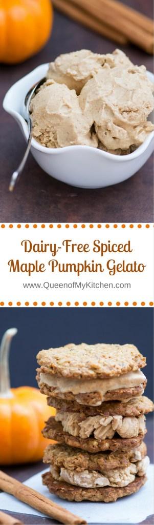 Dairy-Free Spiced Maple Pumpkin Gelato - Classic pumpkin flavor in a cool, creamy gelato that's gluten-free, diary-free, and contains no refined sugar. | QueenofMyKitkchen.com