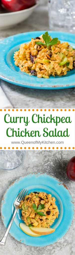 Curry Chickpea Chicken Salad - A unique and healthy take on traditional chicken salad that uses almond butter in lieu of mayonnaise. Gluten-free, dairy-free. | QueenofMyKitchen.com